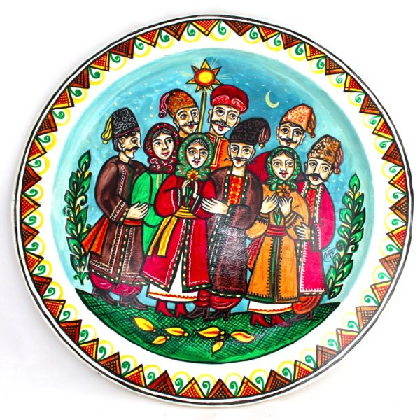 Decorative Hand Painted Wooden Wall Plate Carolers 111002-1