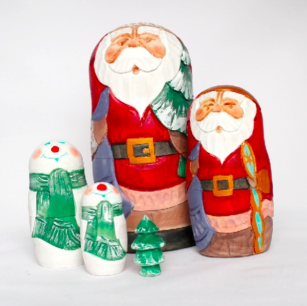 Russian Santa Carved Wooden Nesting Doll 5-pc 6.5 200801-11