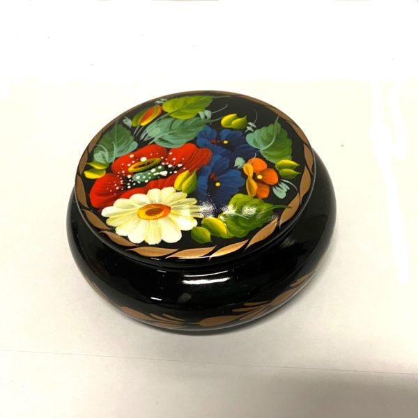 Decorative Hand Painted Round Floral Wooden Lacquer Box 3.56 30104-1