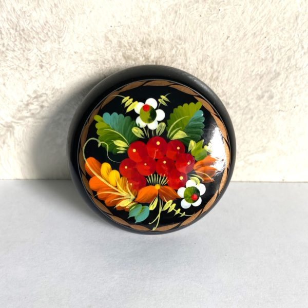 Decorative Hand Painted Round Floral 1 Wooden Lacquer Box 2.56 30106.1-1