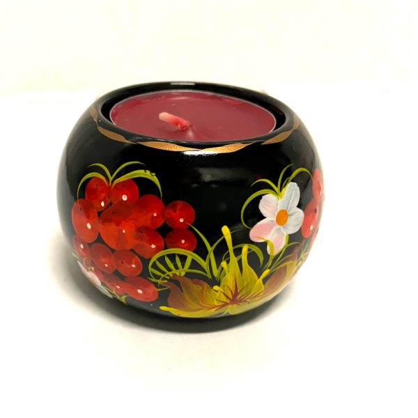 Decorative Hand Painted Round Floral Wooden Candleholder 30403-1