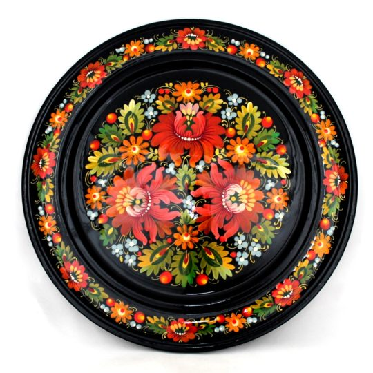 Decorative Hand Painted Wooden Floral Wall Plate Petrykivka Style 12 40104-1