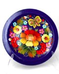 Decorative Hand Painted Wooden Plate Petrykivka Style Butterfly 40111-1
