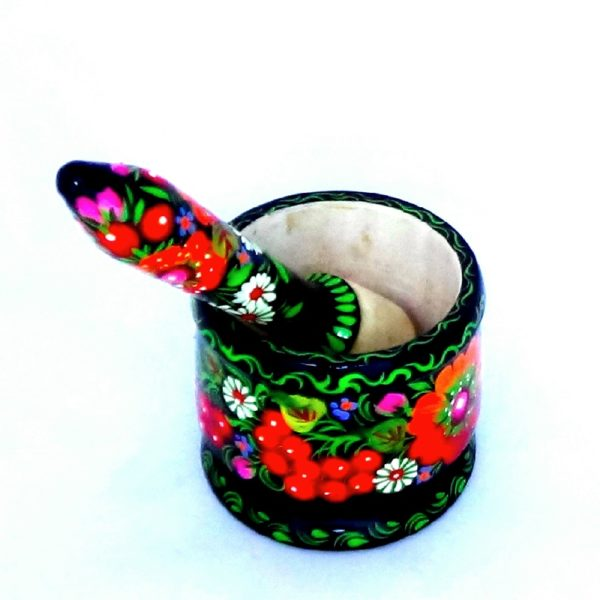 Decorative Hand Painted Wooden Mortar And Pestle Petrykivka Style 3.5 40504-11
