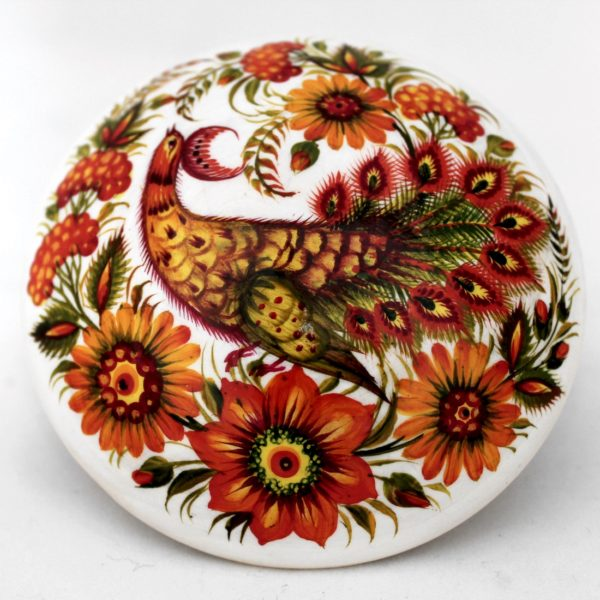 Decorative Hand Painted Round Wooden Box Petrykivka Style 4.25 40931-1