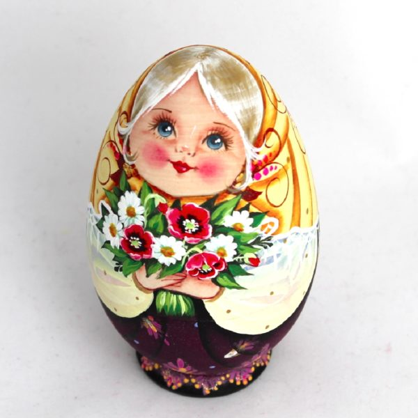 Russian Decorative Hand Painted Wooden Easter Egg Shell Matryoshka 4 50003-1