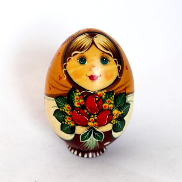 Russian Decorative Hand Painted Wooden Easter Egg Shell Matryoshka 50031
