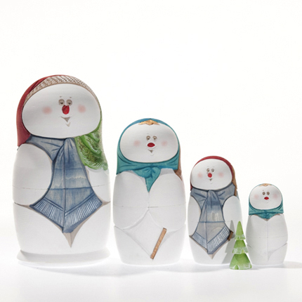 Snowman Carved Wooden Nesting Doll 5-pc 6 50102 3