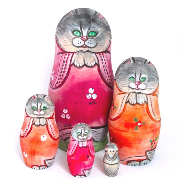 Cat Carved Wooden Nesting Doll Red Coat 50109-1