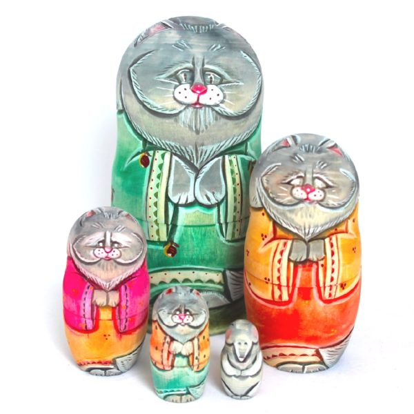 Cat Carved Wooden Nesting Doll Green Coat 50110-1