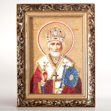 Wall Icon St. Nicolas Hand Painted On Canvas Decorated With Beads 70501_1