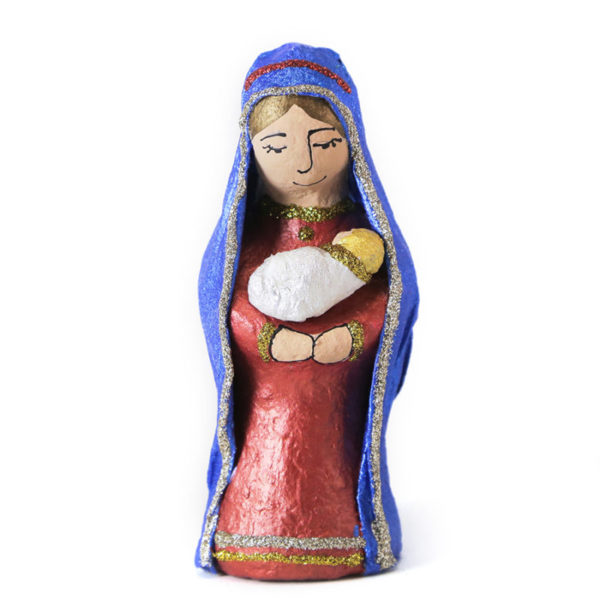 Paper-Mache Sculptured Christmas Mary With Baby Jesus Figurine 2033037012