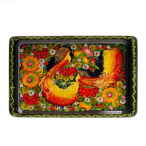 Decorative Hand Painted Wooden Tray Petrykivka Style 40303 1