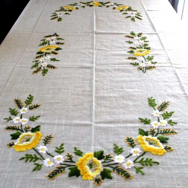 Large Hand Embroidered Ukrainian Floral Grey Linen Tablecloth 67001