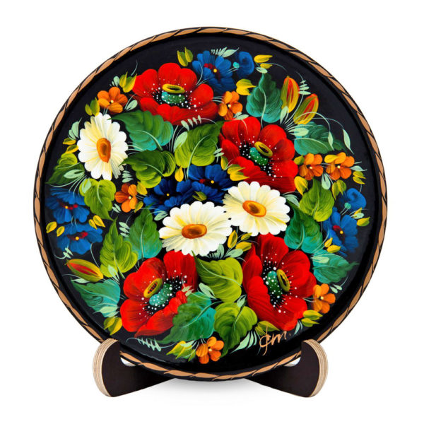 Ukrainian Decorative Hand Painted Wooden Floral 1 Wall Plate 6.75 30003.1