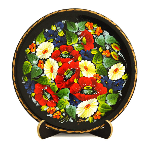 Ukrainian Decorative Hand Painted Wooden Floral 1 Wall Plate 9 30002.1