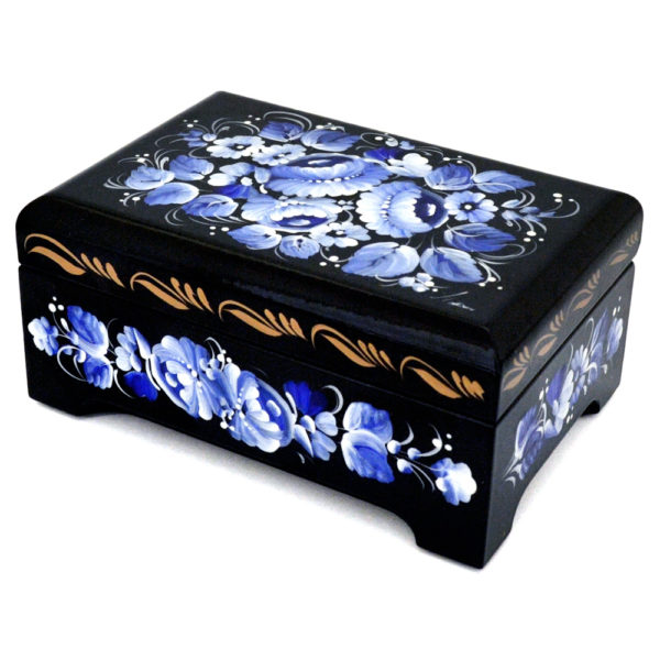 Decorative Hand Painted Rectangular Floral 2 Wooden Lacquer Chest 4.75 30121.2-1