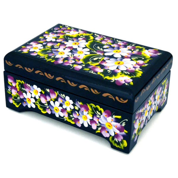 Decorative Hand Painted Rectangular Floral 1 Wooden Lacquer Chest 4.75 30121.1-1