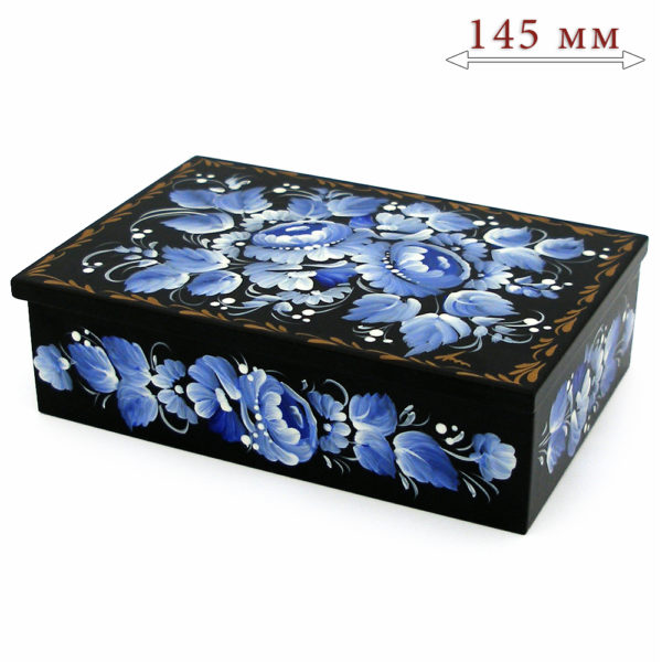 Decorative Hand Painted Rectangular Floral 2 Wooden Lacquer Box 5 30108.2-1