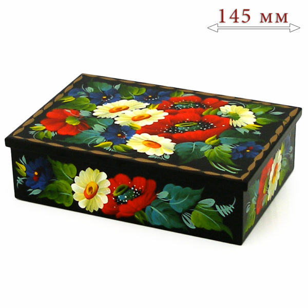 Decorative Hand Painted Rectangular Floral 1 Wooden Lacquer Box 5 30108.1-1