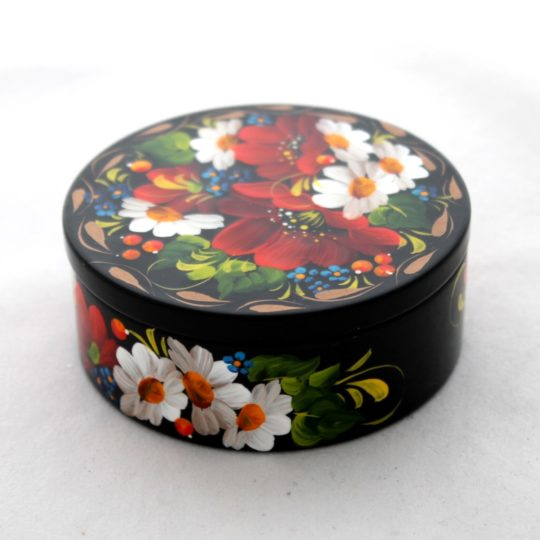 Decorative Hand Painted Round Floral 1 Wooden Lacquer Box 3 30101.1-1