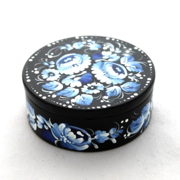 Decorative Hand Painted Round Floral 2 Wooden Lacquer Box 3 30101.2-1