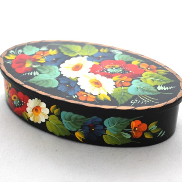 Decorative Hand Painted Oval Floral 1 Wooden Lacquer Box 5 30109.1-1