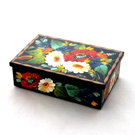 Decorative Hand Painted Rectangular Floral 1 Wooden Lacquer Box 4 30110.1