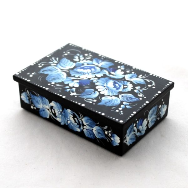 Decorative Hand Painted Rectangular Floral 2 Wooden Lacquer Box 4 30110.2-1