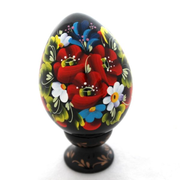Decorative Hand Painted Floral 1 Wooden Pysanka Egg on Stand 3.25 30201.1-1
