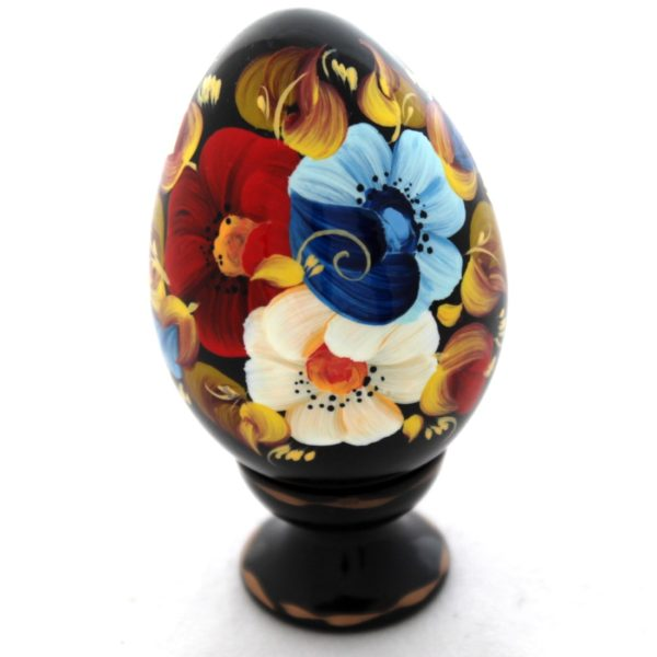 Decorative Hand Painted Floral 3 Wooden Pysanka Egg on Stand 3.25 30201.3-1