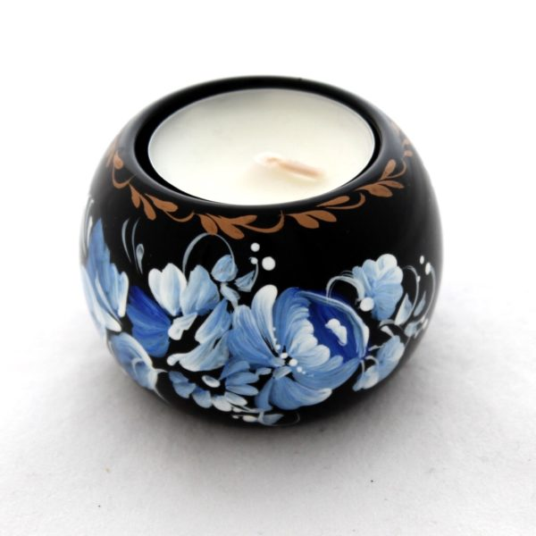 Decorative Hand Painted Round Floral 2 Wooden Candleholder 30403.2-1