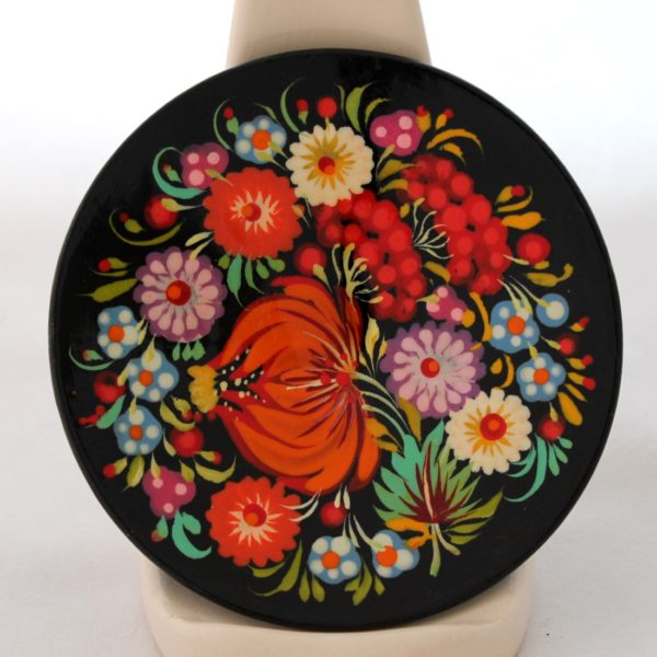 Decorative Hand Painted Wooden Plate Petrykivka Style Floral 4.75 40122-2