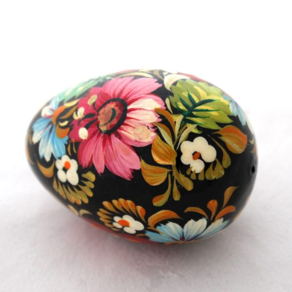Decorative Hand Painted Wooden Pysanka Egg Petrykivka Style Floral 40713-1