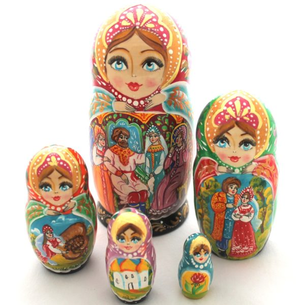 Russian Nesting Doll Matryoshka Decorative Collectible Fairy Tale Scarlet Flower 5-pc 6.7 60123-1