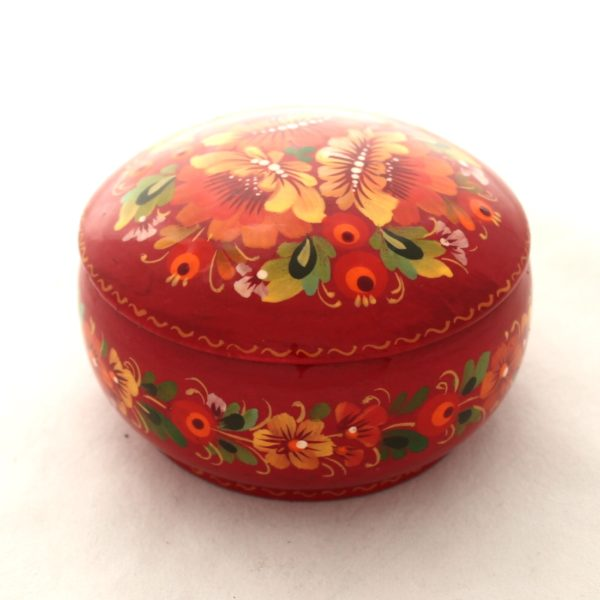 Decorative Hand Painted Wooden Box Petrykivka Style Red 3.75 70201R-2
