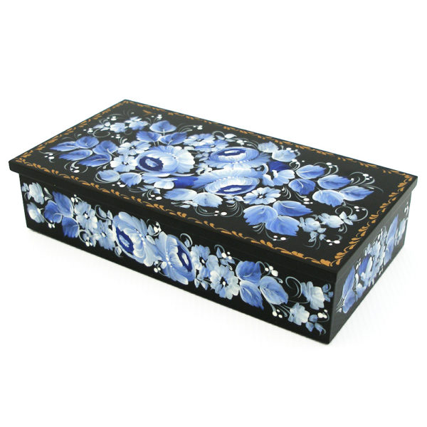 Decorative Hand Painted Rectangular Floral 2 Wooden Lacquer Box 8 30107.2-1
