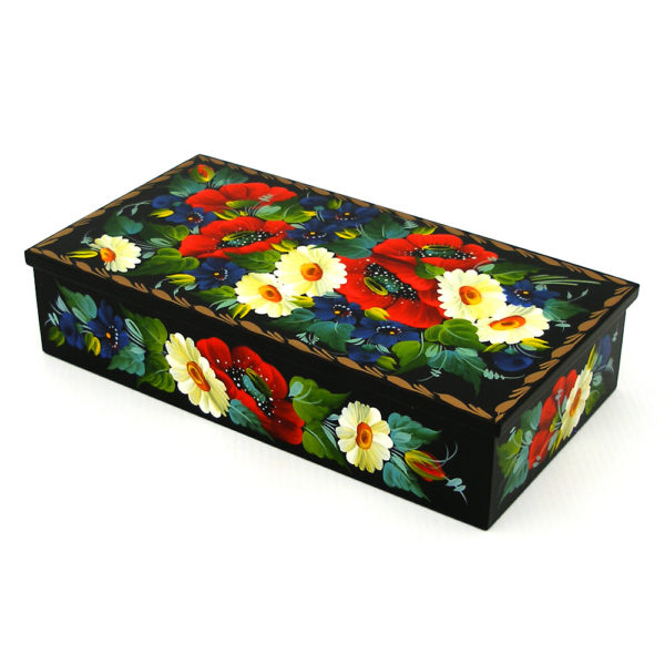 Decorative Hand Painted Rectangular Floral 1 Wooden Lacquer Box 8 30107.1-1