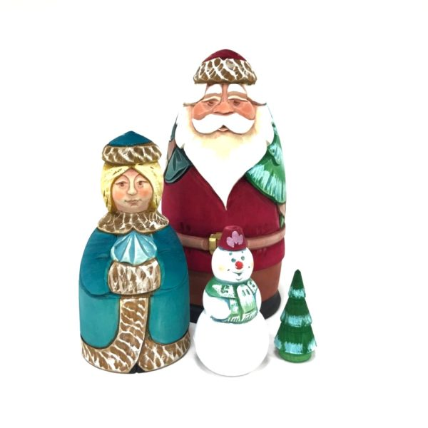Russian Santa Ded Moroz Carved Wooden Nesting Doll 4-pc 50301-1