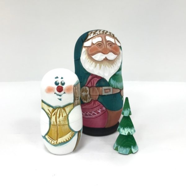 Russian Santa Carved Wooden Nesting Doll Blue 3-pc 50401B1-2
