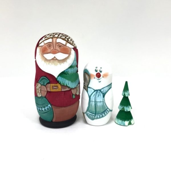 Russian Santa Carved Wooden Nesting Doll 1 Red 3-pc 50401R1-1