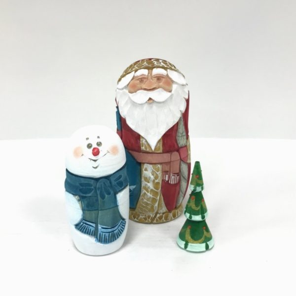 Russian Santa Carved Wooden Nesting Doll 2 Red 3-pc 50401R2-2