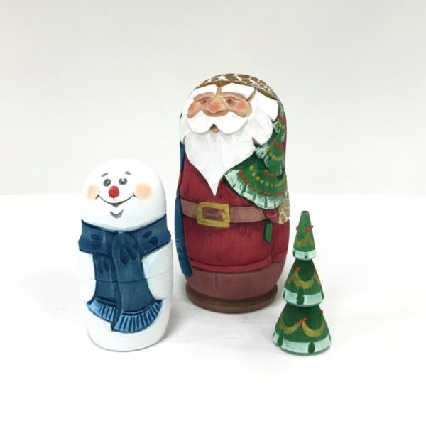 Russian Santa Carved Wooden Nesting Doll 3 Red 3-pc 50401R3-2