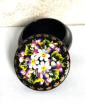 Decorative Hand Painted Round Floral 2 Wooden Lacquer Box 3.56 30104.2-1