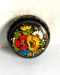 Decorative Hand Painted Round Floral 2 Wooden Lacquer Box 2.56 30106.2-1