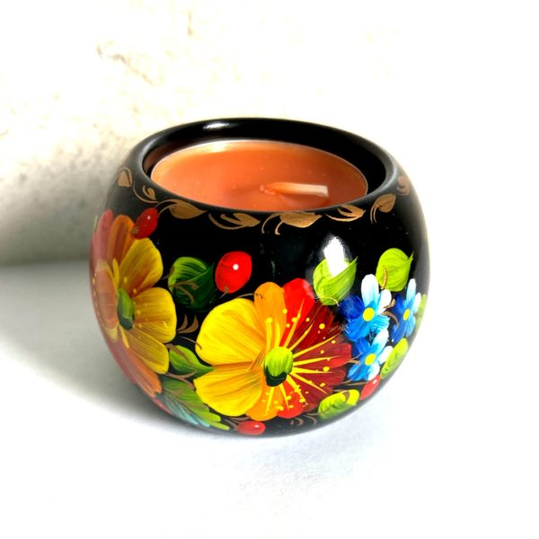Decorative Hand Painted Round Floral 3 Wooden Candleholder 2.56 30403.3-1