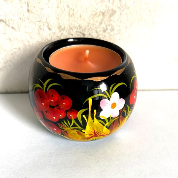 Decorative Hand Painted Round Floral 4 Wooden Candleholder 2.56 30403.4-1